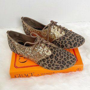 Zara Leopard Glitter Oxford Flats
